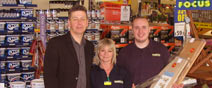 Neighbourhood Partnership Chair, Kelvin Lacy pictured here with Focus store manager Carol and her deputy